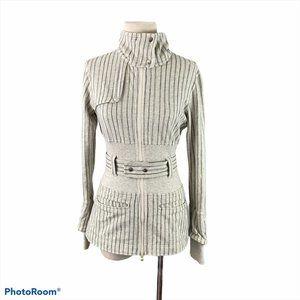 LULULEMON Beige & Blue Pinstripe Zip Up Sweater